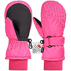 Andake Kids Mittens Gloves, Winter Snow Ski Mittens for Girls/Boys (Pink, 5-7Y)