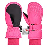Andake Kids Mittens, Snowproof Mittens for Girls/Boys (Black/Pink, 2-7Y)