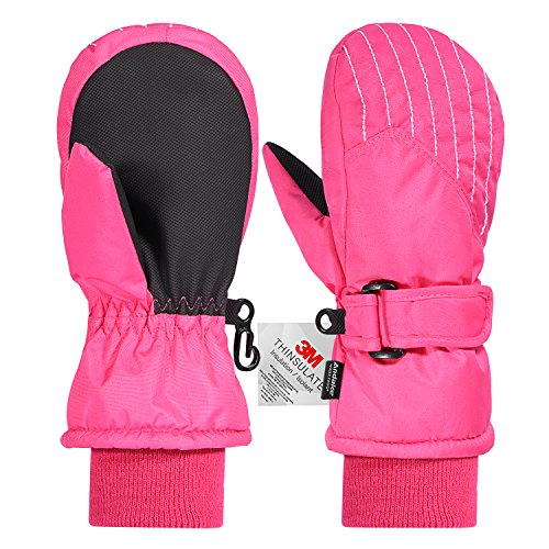 Andake Kids Mittens Gloves, Winter Snow Ski Mittens for Girls/Boys (Pink, 2-4Y)