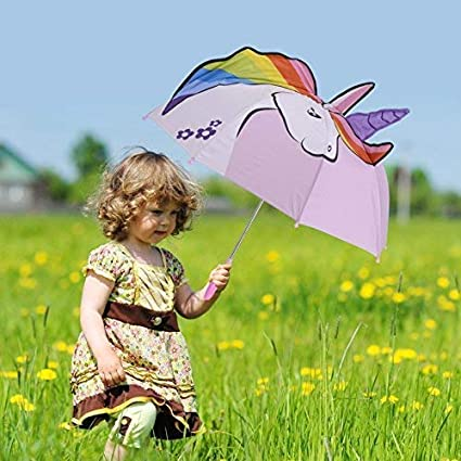 Micaddy Unicorn Umbrella w//Stars Pop up Umbrella for Kid with Safety Open and Close Age 3-7