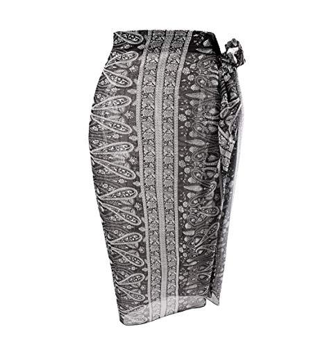 Sanchy Women's Plus Size Bathing Suit Cover Up Beach Sarong Black Cashew Plus Size