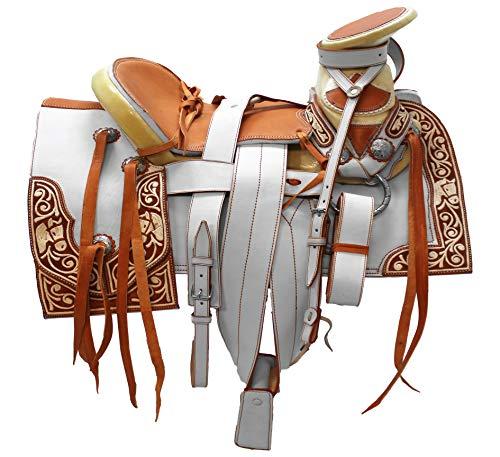 (Umbranded Mexican Charro Horse Saddle Leather Silla de Montar Adulto Piteada Fuste 151/2)