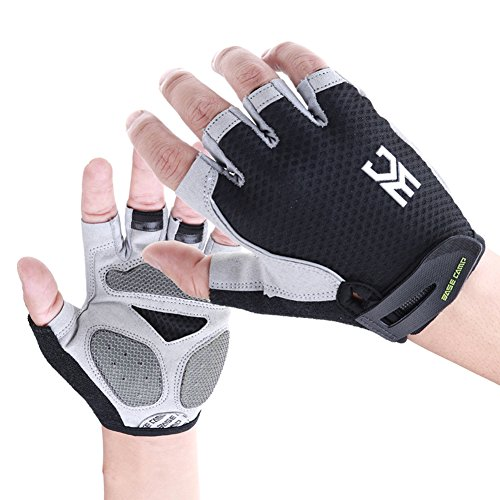 EASECAMP Cycling Half Finger Gloves with Anti Slip Pad and Shock Absorbing Gel (Black, Large)
