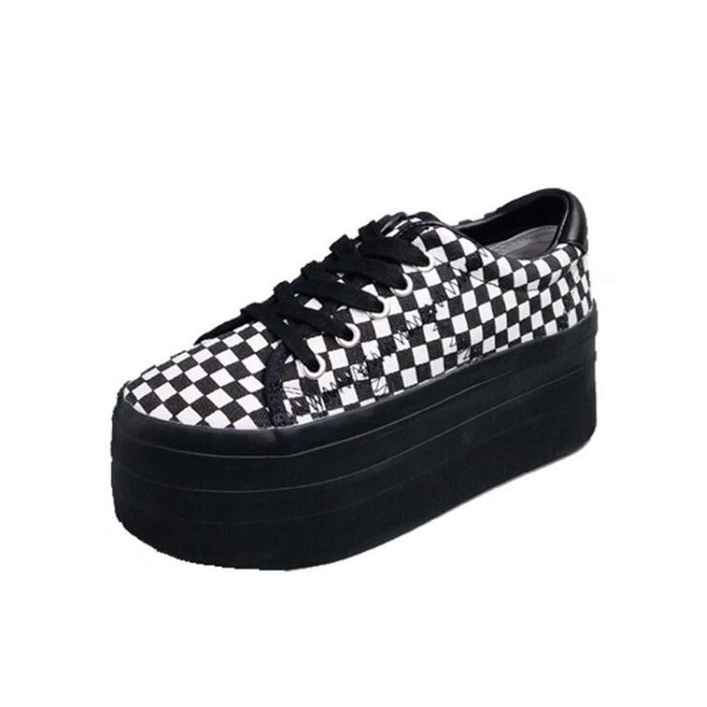 Hy Segeltuch-Schuhe der Frauen, Frühling/Herbst-Starke Unterseite erhöhen zufällige Schuhe, Komfort-Turnschuhe, Runde Zehe-Lace-up Flache Einzelne Schuhe gehende Turnschuh-Schuhe Größe: 35-39
