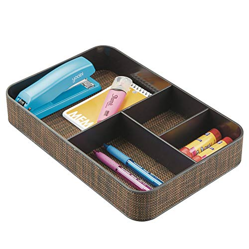 ded Drawer Organizer Tray for Home Office, Desk Drawer, Shelf, Closet - Holds Highlighters, Pens, Scissors, Adhesive Tape, Paper Clips, Note Pads - 4 Sections - Bronze ()