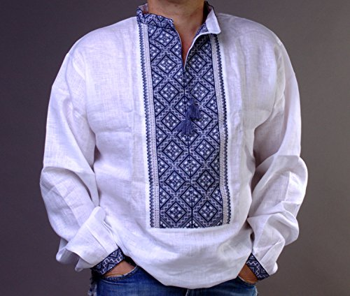 HAND Mens White VYSHYVANKA LINEN SHIRT Gray Embroidered L FATHER'S DAY - Canada Day Fathers