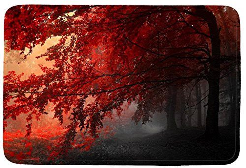 Wondertify Doormat, Landscapes,Forests Autumn Red Misty Forest Leaves Fall Woods Indoor/Kitchen/Bathroom Mats Rubber Non Slip Door Mats 18 X 30 Inch