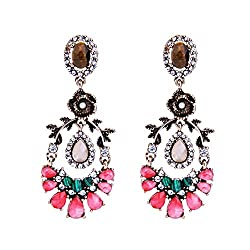 Colorful Leaf Flower Earrings
