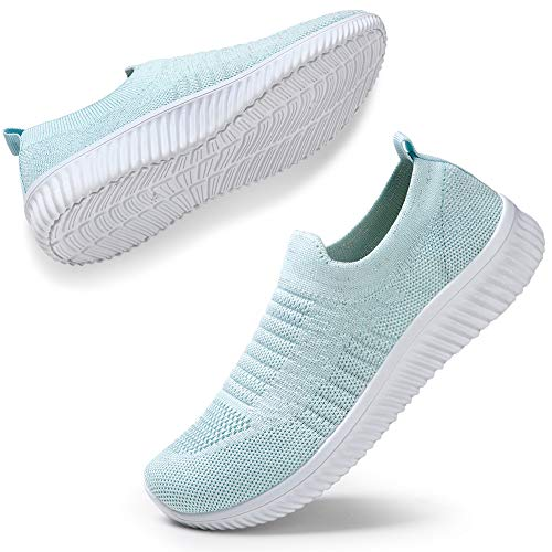 HKR Women's Lightweight Walking Shoes Slip On Breathable Mesh Yoga Travel Fitness Workout Sports Sneakers 9.5 US Sky Blue(WD003yuese42)