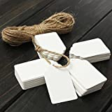 New 100 pcs Kraft Paper Gift Tags Wedding Scallop Label Blank Luggage (White)