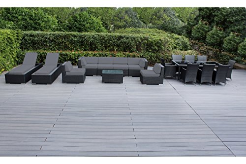 Genuine Ohana Outdoor Sectional Sofa and Dining Wicker Patio Furniture Set with Free Patio Cover (18 pc Set/Gray)