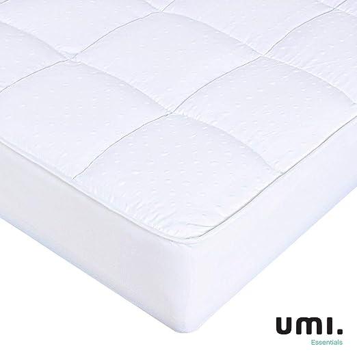 Umi. Essentials Funda colchón de Microfibra y poliéster, Soft Touch,Blanco -180x200 cm