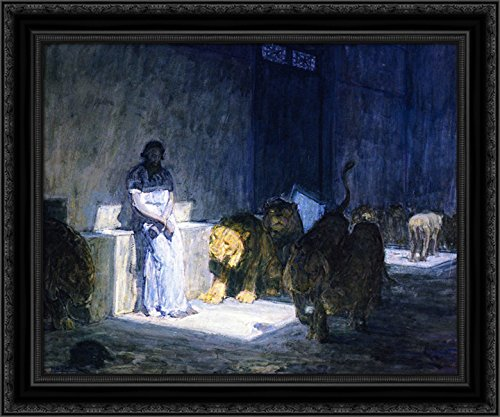 Daniel in The Lions' Den 24x20 Black Ornate Wood Framed Canvas Art by Henry Ossawa Tanner
