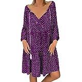 Dresses for Women Vintage Polka Dot Tie Neck Tassel A-LIne Swing Mini Dress Long Sleeve Causal Basic T-Shirt Dress