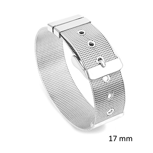 JewelryVolt Womens Stainless Steel Mesh Belt Buckle Clasp Silver Tone Bracelet 8mm-10mm-14mm-17mm (17 Millimeters) ()