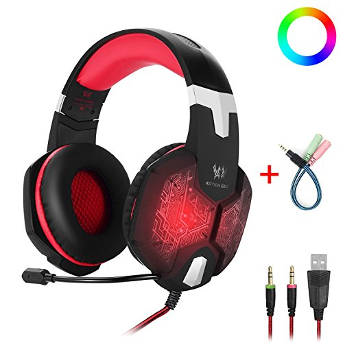 Gaming Headset with Microphone  for PC One Key Mute Sound Breathing USB LED Light Noise Reduction - Multi Platform Compatible, Red or Blue