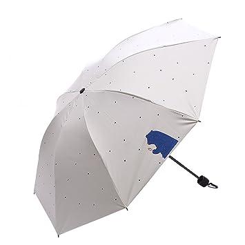 DERKOLY - Paraguas Plegable para el Sol de Verano, con Diseño de Lluvia, Beige