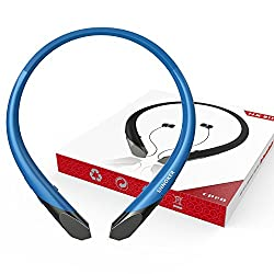 Upgrade Version Wireless Bluetooth Headphones V4.1 Neckband Headset Retractable Earbuds HD Stereo Sound Noise Reduction Mic Sports Sweat-proof Earphone for Android Cellphones and Iphone (Blue)