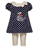 Little Girls Polka Dot Whale Applique Nautical Dress/Legging Set, Bonnie Jean, Navy, 3T