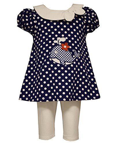 Little Girls Polka Dot Whale Applique Nautical Dress/Legging Set, Bonnie Jean, Navy, 3T by Bonnie Jean