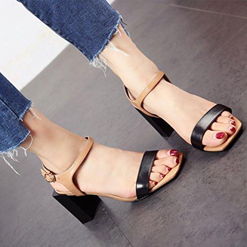 Zapatos Talones Damas' Verano Moda Moda a Europeo Dedos YMFIE de Zapatos Talones Zapatos de t1wqF0aax