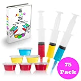 Jello Shot Syringes and Plastic Party Cups with lids - Gelatin or Cocktails Birthday Pack Contains 25 Large Reusable 2.0 oz Syringes With Caps + 50 Disposable 2.0 oz Shot Cups With Lids - FREE eBook