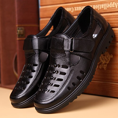 Ahueca Fuera Color EU hacia Qiusa Genuine Zapatos Zuecos Sole 44 Cloth Soft Negro Hook Mens Sandals tamaño Antideslizante Loop wYBIYT