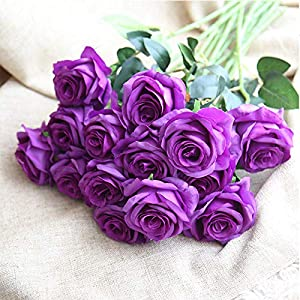 Bringsine Premium Artificial,Real Touch Pu Silk Rose Fake Flowers Home Decorations for Bridal Wedding Bouquet,Birthday Bunch Hotel Party Garden Floral Decor-Purple 3