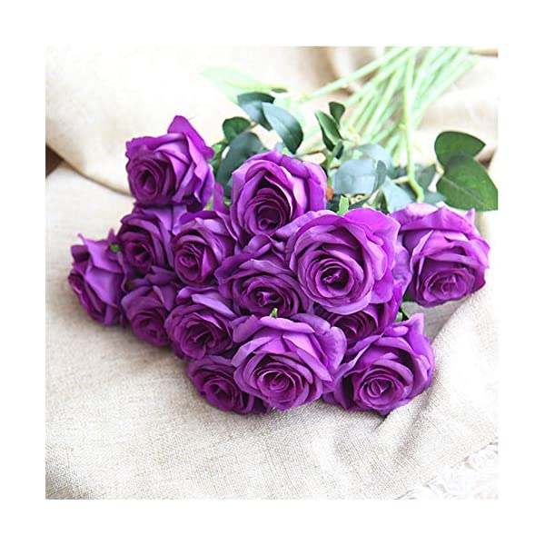 Bringsine-Premium-ArtificialReal-Touch-Pu-Silk-Rose-Fake-Flowers-Home-Decorations-for-Bridal-Wedding-BouquetBirthday-Bunch-Hotel-Party-Garden-Floral-Decor-Purple