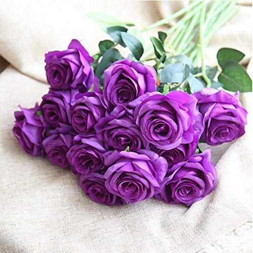 Sandweek-Premium-ArtificialReal-Touch-Pu-Silk-Rose-Fake-Flowers-Home-Decorations-for-Bridal-Wedding-BouquetBirthday-Bunch-Hotel-Party-Garden-Floral-Decor-Purple