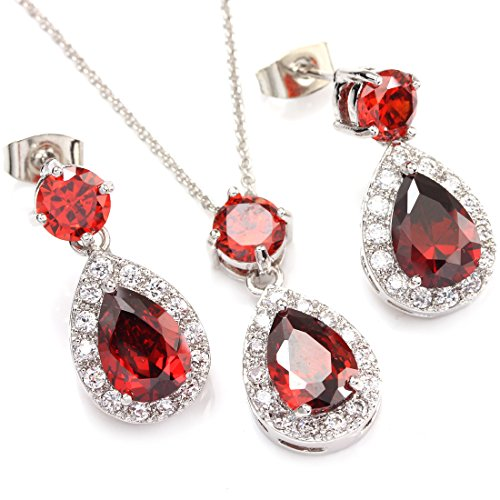 FC JORY White Gold GP Ruby Color Red Pear Teardrop Halo Necklace Earrings Jewelry Set Wedding Jewelry Brides Bridesmaids