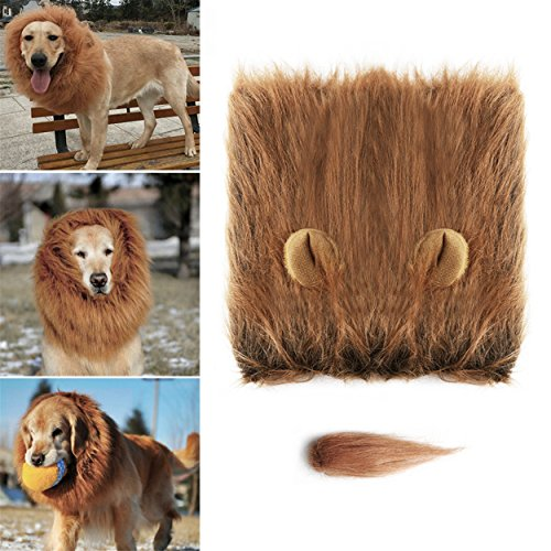 Hip Mall Lion Mane for Dog, Realistic Comfortable Funny Pet Dog Lion Mane Costume for Christmas, Halloween, Clothes Festival Dress Up- Lion Mane Wig with Ear and Tail for Dogs]()