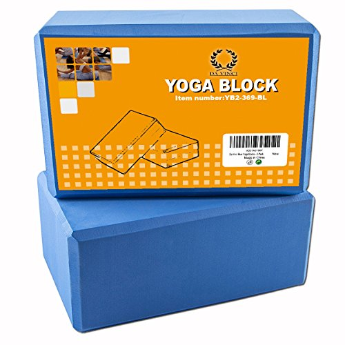 Pair of Da Vinci Yoga Blocks - High Density EVA Foam Exercise Blocks to Provide Balance, Stability, Deepen Pose & Improve Strength. 2-Pack