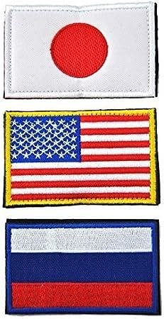 8cmX5cm bandera nacional parche de velcro Conjunto de 3 Japoen Estados Unidos Rusia hacia atraes Velcro: Amazon.es: Juguetes y juegos