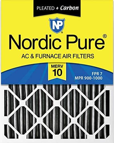 Nordic Pure 16x 25x 4(3–5/8Die tatsächliche Tiefe) Plissee Merv 10Plus Carbon AC Ofen Filter, Box von 6