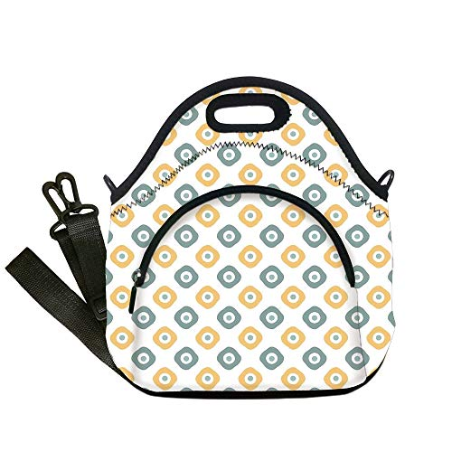 Insulated Lunch Bag,Neoprene Lunch Tote Bags,Vintage,Stylish Evil Eye Bead Amulet Like Figures Cubical Rounded Dotted,Almond Green Apricot Mustard,for Adults and children ()