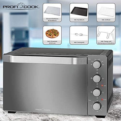 Profi Cook Four multifonction PC-MBG 1185 4 en 1 - Four multifonction avec espace de cuisson de 35 litres - Pierre à pizza et tournebroche - Noir