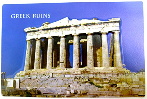 Greek Ruins, Three Dimension Standard Magnet, Italy Skylines Souvenirs, Molded Dramatic Magnets Souvenir 4 1/2 X 6 1/2