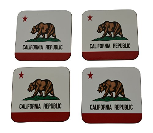 California State Flag Drink Coaster Set Gift For Californians Home Kitchen Bar Barware ()