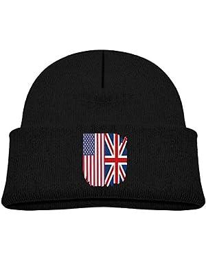 Fashion British American Flag Printed Baby Boy Girls Winter Hat Beanie