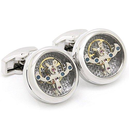 Gohuos Steampunk Watch Movement Mechanical Cufflinks Old Vintage Silver Tourbillon Cufflinks With Gears Round