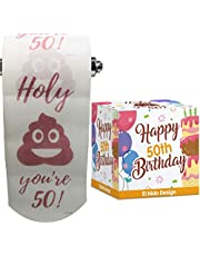 50th Birthday Toilet Paper - Happy birthday toilet paper prank– Funny 50th birthday gifts for men and women– best friend birthday gifts– Novelty Toilet paper roll gag gifts – 3 Ply (50th Birthday)
