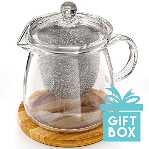 Glass Teapot Kettle with Infuser and Engraved Bamboo Trivet in a Beautiful Gift Box - Premium Quality Stainless Steel Removable Strainer for Loose Leaf & Blooming Flowering Teas - 27 fl oz/800 ml