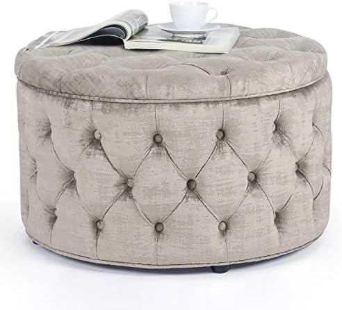 Homebeez Round Velvet Storage Ottoman