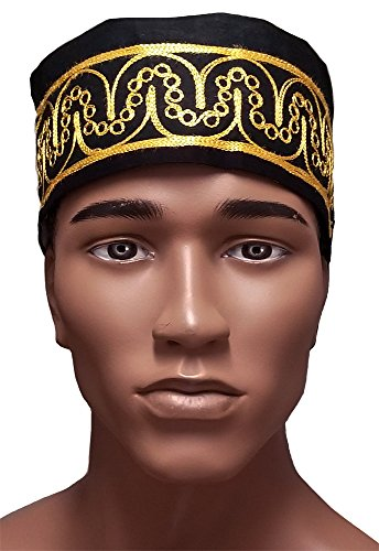 African Hat (Dupsie's African Black Kufi Hat with Gold Embroidery)