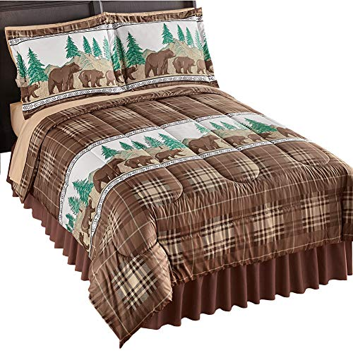 - Collections Etc Bear Lodge Cabin Decor Bedding Comforter Set with Pillow Shams, Multi-Colored, Twin