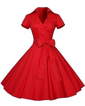 SaiDeng Vestidos 50S Retro Manga Corta Audrey Hepburn Swing Polka Dots Rockabilly Rojo S