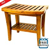 Teak Shower Bench with Shelf Water Resistant Real Teak Wood Bathroom Utility Natural Oil Stain Spa Bath Organizer Indoor Outdoor Sauna Deck Patio Pool Furniture & eBook by BADA shop