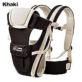 ELENKER Adjustable 4 Positions Carrier 3D Backpack Pouch Bag Wrap Soft Structured Ergonomic Sling Front Back Newborn Baby Infant Khaki