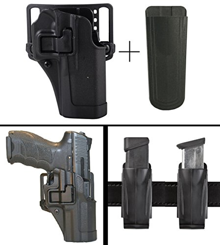 Speed Clip Beretta Cqc Platform (BlackHawk Beretta 92, 96 Right Hand CQC Serpa Concealment Holster + Ultimate Arms Gear 9mm/.40/.45 Magazine Belt Clip Pouch Holder,)